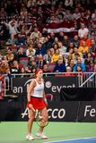 Alona Ostapenko, tijdens Wereldgroep II Eerste Rond spel tussen team Letland en team Slowakije royalty-vrije stock afbeeldingen