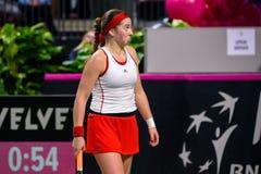 Alona Ostapenko, tijdens Wereldgroep II Eerste Rond spel tussen team Letland en team Slowakije stock afbeeldingen