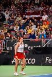 Alona Ostapenko under den första runda leken för världsgrupp II mellan laget Lettland och laget Slovakien royaltyfria bilder