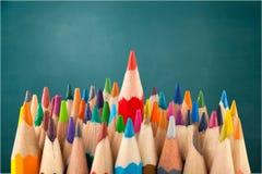 Alone. Arrangement art business color pencil colored pencils concept Stock Images