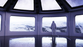 Alone astronaut in futuristic interior. Sci fi room view of the earth. 3d rendering. Stock Image
