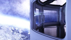 Alone astronaut in futuristic interior. Sci fi room view of the earth. 3d rendering. Royalty Free Stock Photos