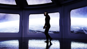 Alone astronaut in futuristic interior. Sci fi room view of the earth. 3d rendering. Stock Images