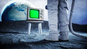 Alone astronaut on the moon watch old TV. Tracking your content. 3d rendering. Alone astronaut on the moon watch old TV. Tracking your content. 3d rendering Stock Photography