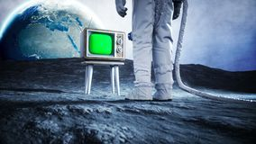 Alone astronaut on the moon watch old TV. Tracking your content. Ralistic 4K animation.