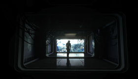 Alone astronaut in space. Sci fi futuristic corridor. view of the earth. 3d rendering. Stock Images