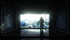 Alone astronaut in space. Sci fi futuristic corridor. view of the earth. 3d rendering. Alone astronaut in space. Sci fi futuristic corridor. view of the earth Royalty Free Stock Image