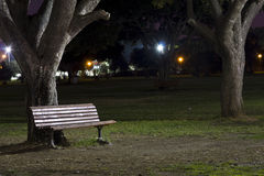 Alone Bench. At night, in the park Stock Images
