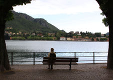 Alone on the bench near the lake Stock Images