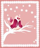 Alone bird on twig of tree. On pink background Royalty Free Stock Photos