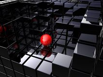 Alone on black cubes Stock Image