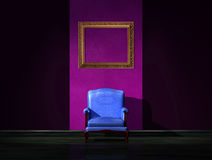 Alone blue chair with empty frame Stock Images