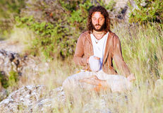 Alone buddhism prayer Royalty Free Stock Image