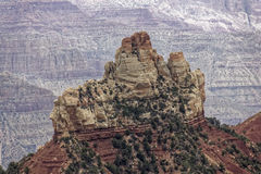Alone in the canyon. A lone peak in the middle of the Grand Canyon Stock Images