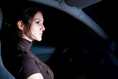 Alone in car. Stopped car with beautiful woman inside Royalty Free Stock Photo