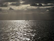 Alone on the caribbean sea stock image