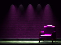 Alone chair in dark Royalty Free Stock Images
