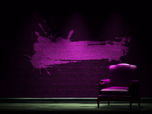Alone chair with grunge frame Royalty Free Stock Photos
