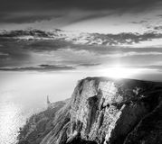 Alone on cliffs Stock Photo