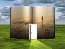 Alone in clouds. Surrealism. Book with opened door, ladder and figure of man in clouds. Human elements were created with 3D software and are not from any actual Stock Images