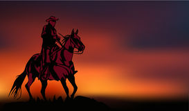 Alone cowboy ride on the sunset vector image. Alone cowboy ride on the sunset Stock Photo