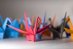 Alone in a crowd. A group of origami birds with different colours stock images
