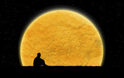Alone in the dark night. It is photo silhouette style Royalty Free Stock Photography