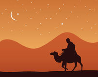 Alone In The Desert. Vector illustration of a man at the desert Royalty Free Stock Images