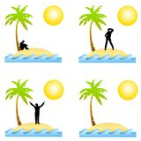 Alone On A Deserted Island. An illustration featuring your choice of deserted island scenes with water, sand, sun and palm tree including person stranded and a vector illustration