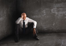 Alone desperate businessman. solitude and failure concept Stock Photography