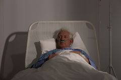 Alone elder patient in hospital Royalty Free Stock Image