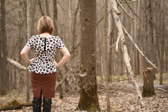 Alone female in forest Royalty Free Stock Image