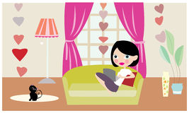 Alone girl with cat and computer vector Royalty Free Stock Images