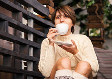Girl portrait with coffe cup Stock Image
