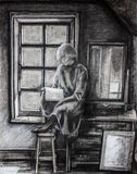 Alone girl reading book Stock Photo