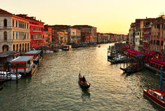 Alone Gondola At Sunset. Grand Canal In Venice Stock Images