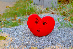 Alone heart : color heart  from background. Royalty Free Stock Photography