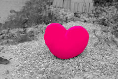 Alone heart : color heart  from background. Stock Image