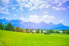 Alone House of a German Village in Bavarian Alps Stock Images