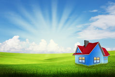Alone house on grass field Stock Images