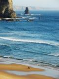 Alone i strand Arkivfoto
