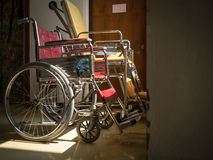 Alone with illness and two wheelchairs together. Royalty Free Stock Image