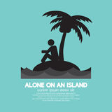 Alone on an Island Black Symbol Royalty Free Stock Photography