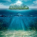Alone island in the ocean stock photo