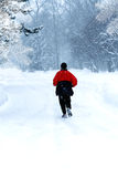 Alone jogger during winter. Royalty Free Stock Photos