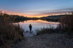 Alone in the lagoon stock images