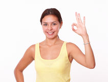 Alone latin lady with ok sign Stock Photography