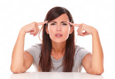 Alone latin woman asking a question Stock Photo