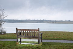 Alone. A lone, empty bench beside a path along the water's edge of a lake in drab weather Royalty Free Stock Photo