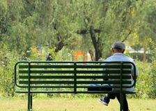 Alone and loneliness. Depressed and sad old man on bench in park or garden from back angle Stock Photos